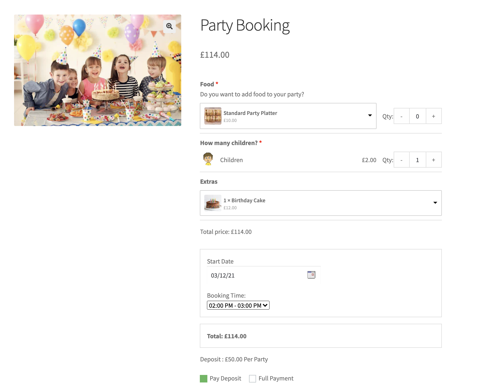 Party Booking Add-On